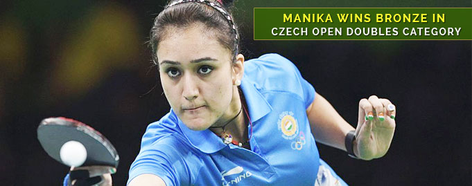 Manika wins Bronze in Czech Open doubles category