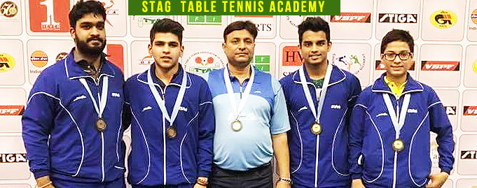 Himanshu Jindal Parth Virmani & Nishaad Shah of Stag Table Tennis Academy won bronze medal in 78th Youth & Junior National & Inter State Table Tennis Championship 2017.