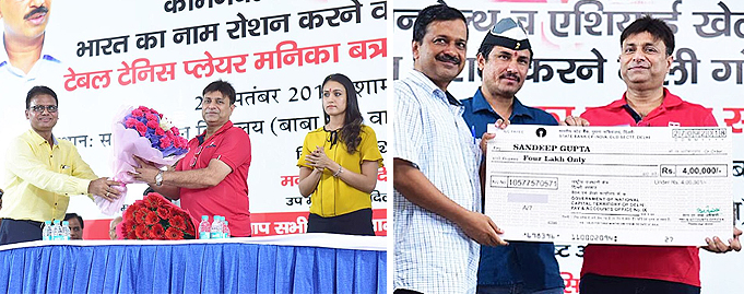 Mr. Sandeep Gupta awarded by Hon. CM of Delhi Shri Arvind Kejiriwal for great success at CWG and Asian Games
